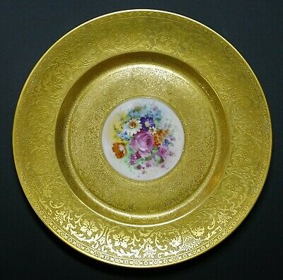 """Pickard Hand Painted Decorated Gold Encrusted 10 3/4"""" Dinner Cabinet Plate - A"""