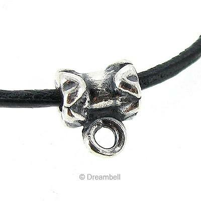 2x Antique Sterling Silver Leather 1mm Cord Pendant Ring Connector Bail SB136B