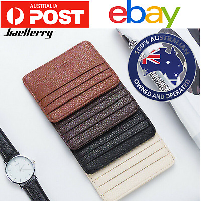Mens womens  leather wallet slim case opal credit card holder from Australia