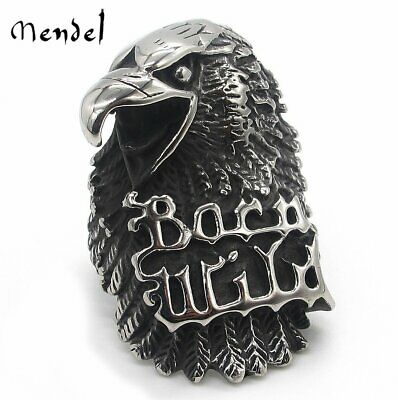 MENDEL Mens Motorcycle Biker Hawk Eagle Ring Born Wild Stainless Steel Size 8-13