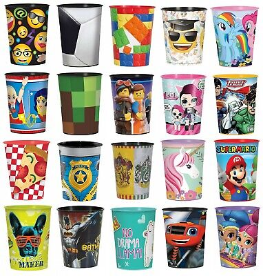 LICENSED CHARACTER Plastic Favour Cups - Birthday Party Loot Bag Gift Container