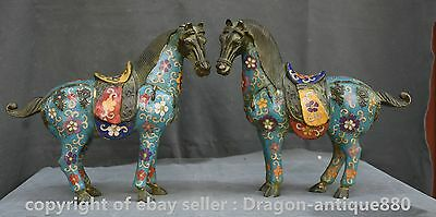 """11"""" Old Chinese Cloisonne Enamel Fengshui 12 Zodiac Year War Horse Statue Pair"""