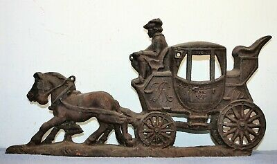 Antique SILVER LEAF PRODUCTS Cast Iron Horse Drawn Oxford London Mail Carriage