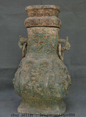 "16"" Old Chinese Bronze Ware Dynasty Palace Dragon Beast Handle Drinking Vessel"
