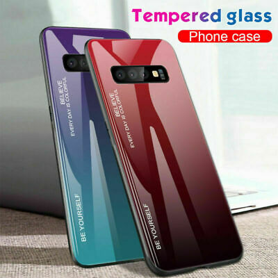 For Samsung Galaxy S10e S10 Plus Gradient Tempered Glass Back Slim Case Cover