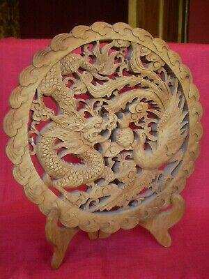 Stunning Vintage Chinese Dragon & Phoenix Carved Wooden Plaque