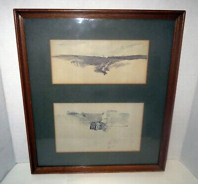 Signed ANDREW WYETH AIR BRUSH Etching Print Set FLOCK OF CROWS - MILK CANS