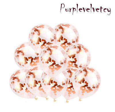 "10-100 X 12"" Sequin Rose Gold Confetti Latex BALLOONS Hen Party Birthday BALOONS"