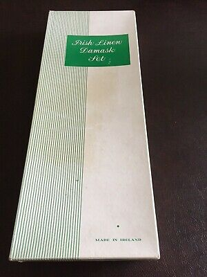"""NEW OLD STOCK~Irish linen damask 70X124"""" table cloth and 12 napkin sets vintage"""
