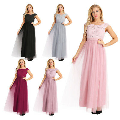 Women Floral Lace Open Back Tulle Bridesmaid Long Dresses Elegant Event Wear