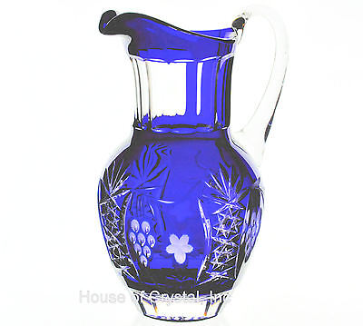 AJKA Marsala Cobalt Blue Cut to Clear Cased Crystal Tea Beverage Pitcher New/Box