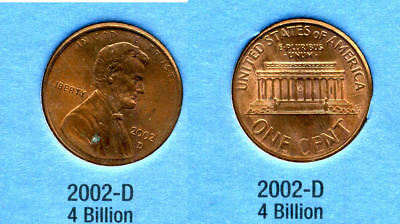 2002 D ABE Lincoln Memorial AMERICAN PENNY 1 CENT US U.S AMERICA ONE COIN #B1