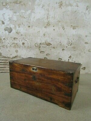Antique Victorian Camphor Wood Military Campaign Trunk