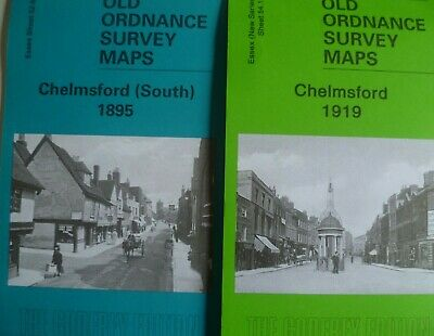 OLD ORDNANCE SURVEY 2 MAPS CHELMSFORD  ESSEX  1895 & 1919  Godfrey Edition