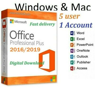 MS Office ProPlus 2016 (365) Full Version PC/Mac 5 User Lifetime FAST Delivery