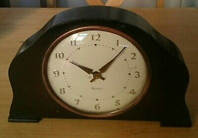 Rare Vintage Antique Wooden WESTCLOX Mantle Clock Made In Scotland Collectable
