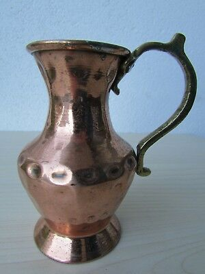 Vintage Hand Hammered Copper Jug With Brass Handle Possibly Turkish.