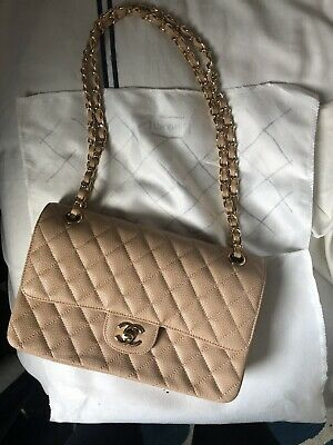 2662b4e466af Authentic CHANEL Classic Double Flap Quilted Caramel/Beige Caviar Bag Gold