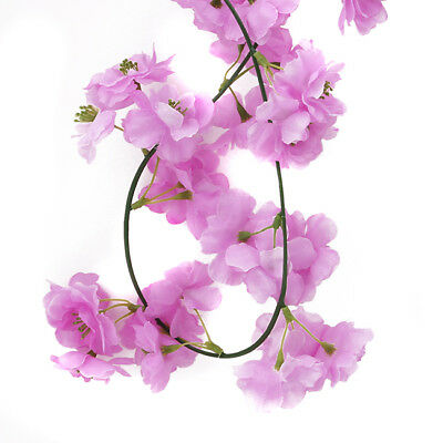 Flowers Party Sakura Rattan Arch Vine Home Decor Garland Wedding Wall Hanging LD