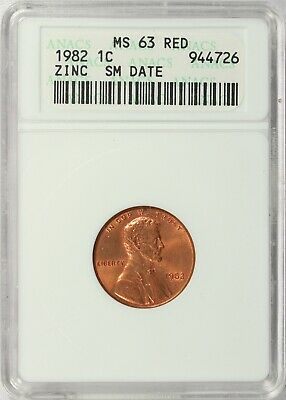 (VL818)  1982-P ZINC OLD ANACS SOAP BAR HOLDER MS 63 RD Lincoln Memorial Cent