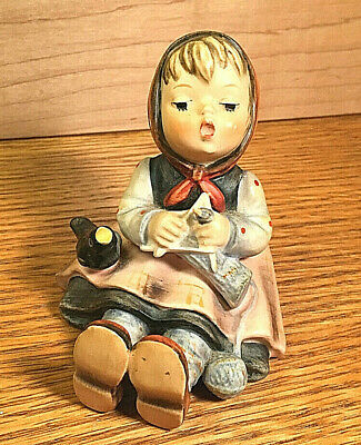 Vintage Hummel Figurine Girl Knitting With Black Bird  Germany Mint!