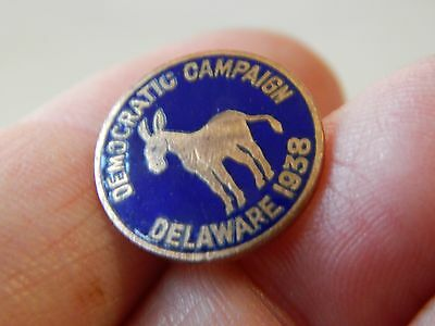 Vintage Democratic Donkey Campaign Delaware State Election 1938 Brooch Pin Screw