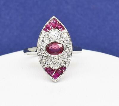 Art Deco SOLID 18k White Gold 1.61ctw Genuine European Cut Diamond & Ruby Ring