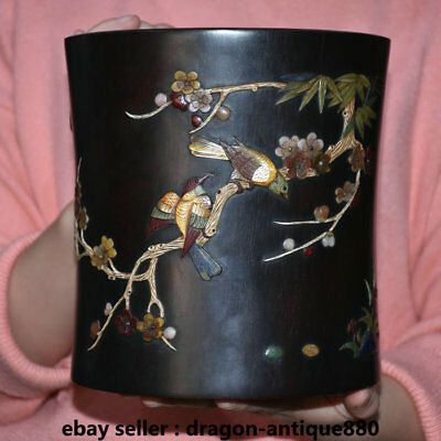 """7.4""""Old China Rosewood Wood Inlay Shell Flower Birds Words Brush Pot Pencil Vase"""