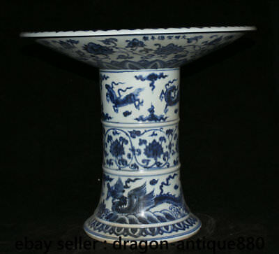"14"" Chinese Blue White Porcelain Animal Beast Dragon Pine Tree Crane High Plate"