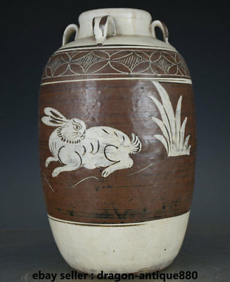 "13""Old Chinese cizhou kiln Porcelain Dynasty Words Rabbit Animal Bottle Vase"