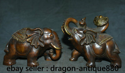 "7.2"" Old Chinese Bronze Feng Shui Auspicious Elephant Ruyi Lucky Sculpture Pair"