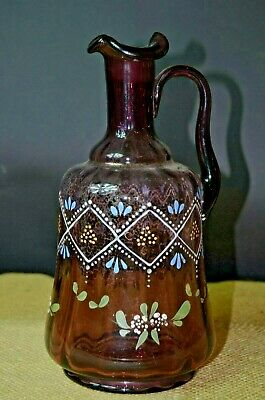 Vintage Victorian Amethyst Glass Pitcher w/ Ruffled Top