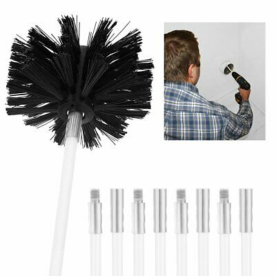 New Chimney Sweeping Set Kit Sweep Brush Drain Rods Flue Cleaning Useful