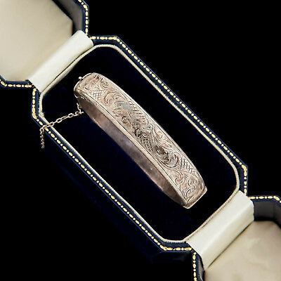 Antique Vintage Deco Style Sterling Silver English Chased Hinged Bangle Bracelet