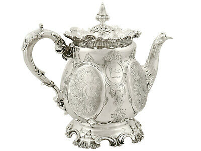 Victorian 1893 English Sterling Silver Teapot 1006g Height 21.6cm