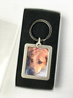Personalised Photo Pet Loss Dog, Cat Memorial Poem Keyring Keepsake + Gift Box