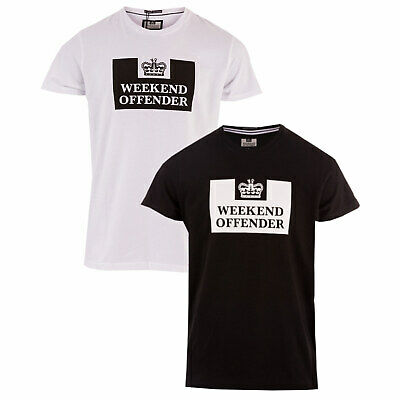 Mens Weekend Offender Tadmur 2 Pack Logo T-Shirts In White Black- One T-Shirt