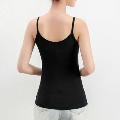 Solid Color Women Basic Cami Camisole Spaghetti Strap Tank Top Slim Fit Tops C