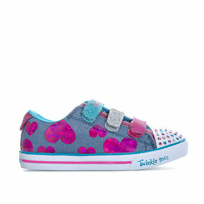 Children Girls Skechers Sparkle Lite Twinkle Toes Trainers In Blue- Hook And