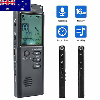 ieGeek Mini Digital 16GB Rechargeable Voice Recorder LCD USB Recording Device AU