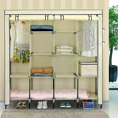 Triple Canvas Wardrobe Close Cupboard Hanging Clothes Rail Storage Shelf Shelves