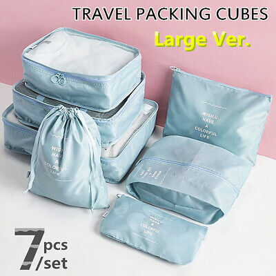 7Pcs Packing Cubes Travel Pouch Luggage Organiser Clothes Suitcase Storage Bags