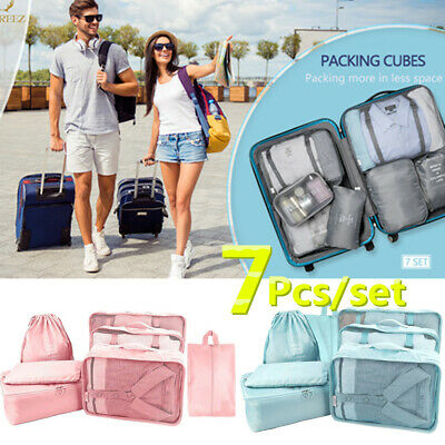 7Pcs Waterproof Travel Storage Bags Clothes Packing Cube Luggage Organizer Pouch