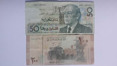 Morocco 1987 50 Dirham Bank Note and 200 Syrian Pounds - Central Bank Of Syria -