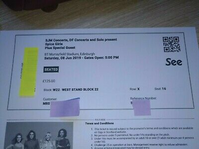 Spice Girls Concert Ticket EDIMBURGH 08.06.2019 Available Instantly After Buy