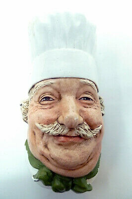 """Chef Chalkware Head Wall Art Mask Hanging Bust Hand Painted Signed 6.5"""" x 3"""""""