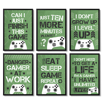 Gaming Prints Xbox Inspired Gaming Games Room Wall Art Decor Boys Gamer Gifts