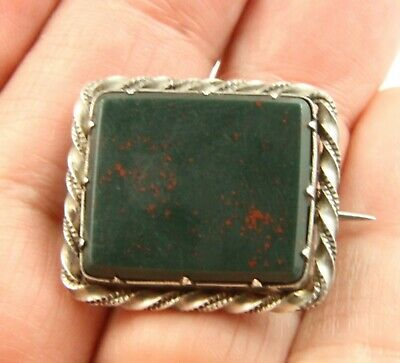 Antique Victorian Edwardian c1900 sterling silver bloodstone agate brooch pin