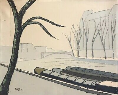 1950's FRENCH EXPRESSIONIST SIGNED OIL - CIRCLE OF BERNARD BUFFET - RIVER/TREES