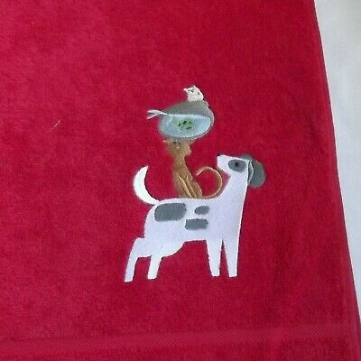 Dog, Cat and Goldfish Embroidered Bath Towel, New Home Gift, Embroidered Towel,